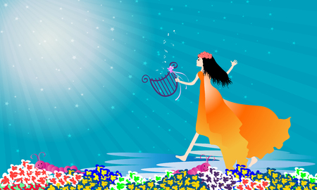 praise: Beautiful girl praise the lord with dance-vector illustration