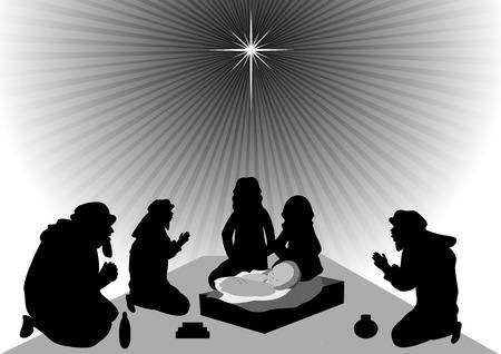 reyes magos: Los hombres sabios traen oro, incienso y mirra al ni�o Jes�s