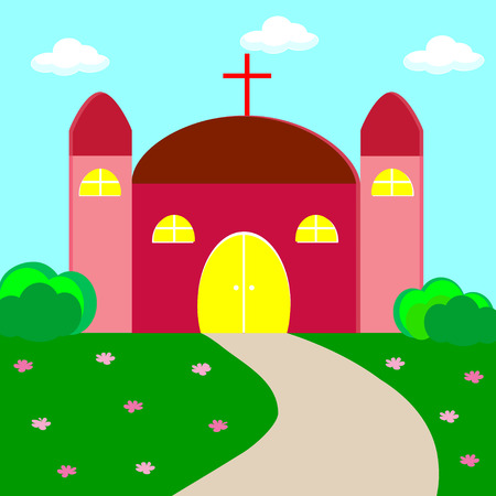 worship and praise: Vector illustration of a christian church Illustration