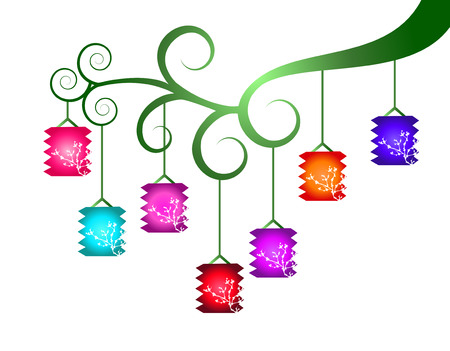 tanglung festival: Colorful lanterns on the branch -Mid-autumn festival- Chinese New Year Illustration