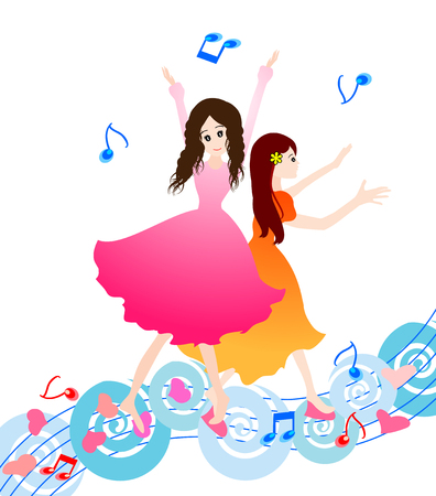 praise and worship: Two beautiful dancing girl-girl praise the lord with dance-Vector illustration