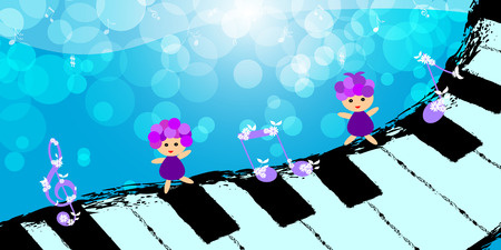 Children dancing on piano keyboard with music note Vector
