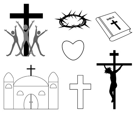 praise and worship: Religious iconsChristian handdrawn symbols illustrationcrossbible church heart
