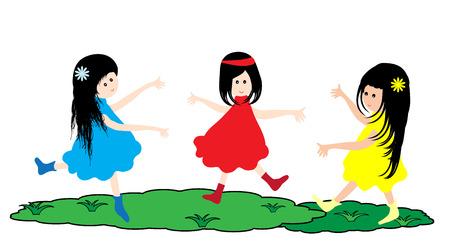 little girl dancing: Cute little girl dancing on white background