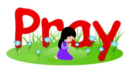 worshiping: Little girl praying