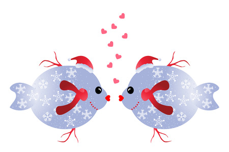 two animals: Christmas fish in love two funny Christmas fish isolated on white background