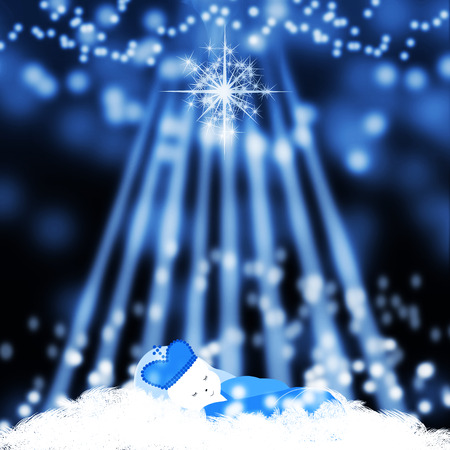 christ is born: Jesus born in manger .baby Jesus in the manger with stars background