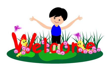 kid vector: Palabras de bienvenida con el niño pequeño y la oruga