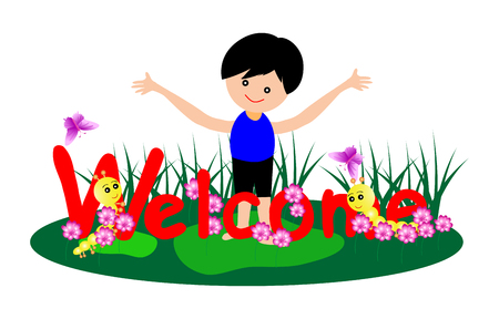 welcome smile: Welcome word with little boy and caterpillar