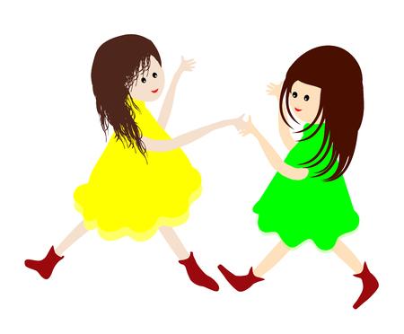tanzen cartoon: Beste friendsTwo kleine Mädchen mit Händen und tanzen