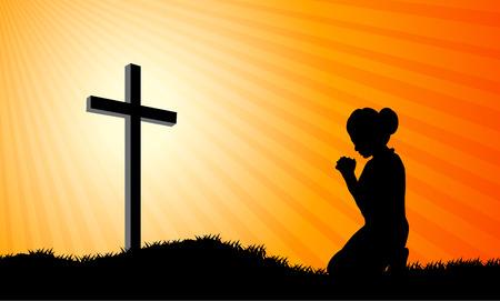 Silhouet van een vrouw, die bidt onder het kruis