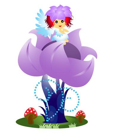 flor aislada: Hada de la flor que se sienta en la flor aislada en blanco