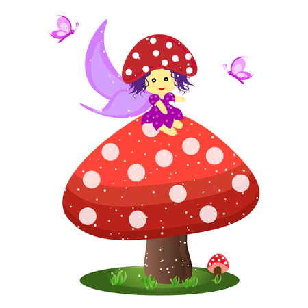 grass close up: Cute little mushroom fairy sitting on mushroom with butterfly