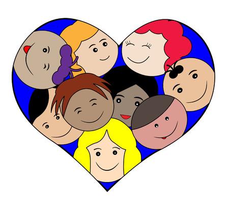 classmate: Children faces in a heart-love concept Illustration