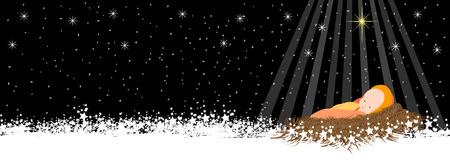 아기 예수와 눈송이 커버 크리스마스 배경 일러스트