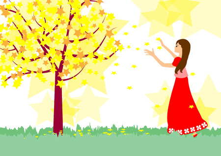 yellow star: Girl and Star tree -Yellow fantasy Star tree with beautiful girl Illustration
