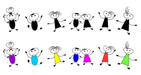 Vector children: Nhóm trẻ em màu đen và trắng Hình minh hoạ