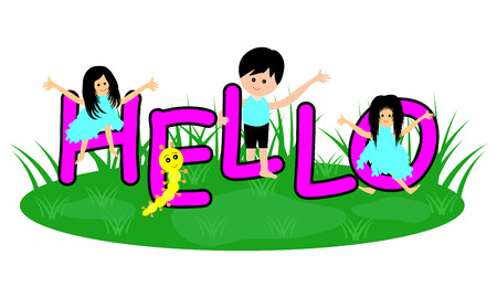 learning english: English word hello with kids Illustration