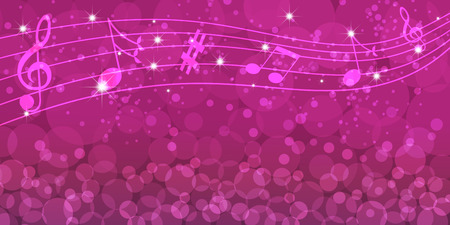 Abstract music notes on purple background with circles