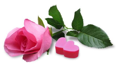 madre soltera: Rosa rosa con el caramelo en forma de coraz�n aislado en el fondo blanco Foto de archivo