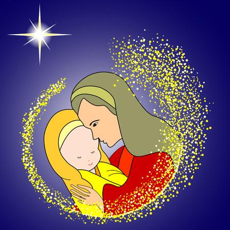 María con el Niño Jesús con la estrella Ilustración de vector