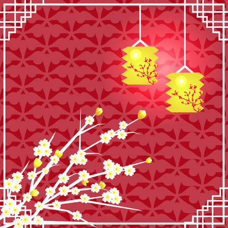 lantern festival: Vector illustration of Chinese Mid Autumn Festival with space for text Illustration