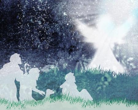 nascita di gesu: Angelo ha annunciato ai pastori la nascita di Gesù Archivio Fotografico