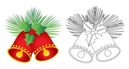 jingle bells: Christmas Jingle Bells -color and black and white Illustration