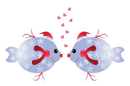 enamorados caricatura: Peces de Navidad en el amor - dos peces divertidos del navidad aisladas sobre fondo blanco