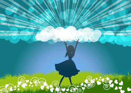 corazones azules: Baile de la muchacha y la alabanza-Muchacha de baile silueta con fondo de naturaleza La primavera y el cielo azul Vectores
