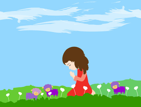 A little girl kneeling and praying with sheep Illustration