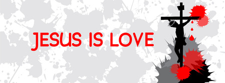 loves: Jesus on the cross-Jesus loves you concept-Timeline cover