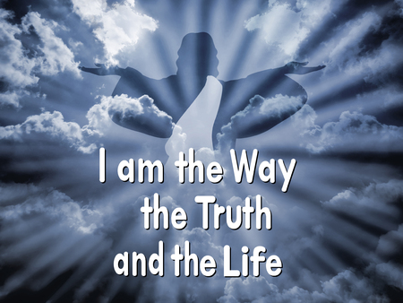 """Jezus z napisem """"Ja jestem drogą i prawdą, i życiem"""" Zdjęcie Seryjne"""