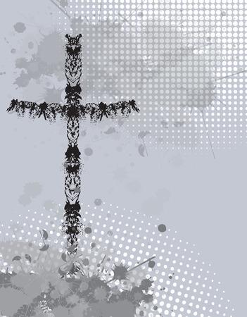 Grunge ink splat background with religion cross