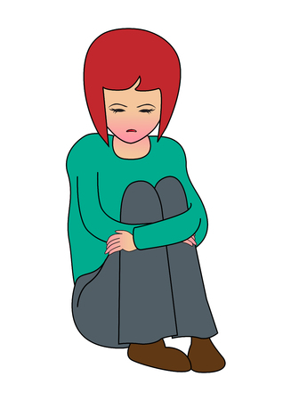 vector girl: Sad teenager girl sitting on the floor isolated on white