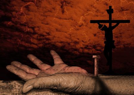 jezus: Ukrzyżowanie Jezusa Chrystusa- jest przybity do krzyża Zdjęcie Seryjne