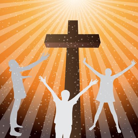 praise: Three woman worship and praise to lord with cross Illustration
