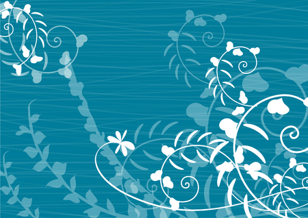 Blue background with flowers silhouette and space for your text