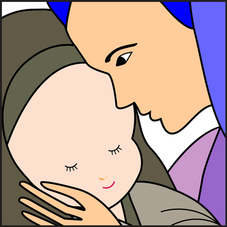 virgin: Baby Jesus and Mary-Mary holding the baby jesus-Vector illustration Illustration