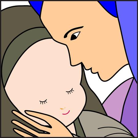 nacimiento de jesus: Beb� Jes�s y Mar�a-Mar�a con el Ni�o Jes�s ilustraci�n-Vector