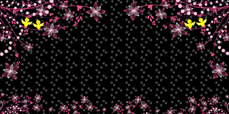 Floral background with a bird and space for your text  イラスト・ベクター素材