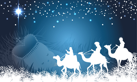nato: Tre saggi nel loro cammino verso Betlemme, con Gesù bambino sfondo