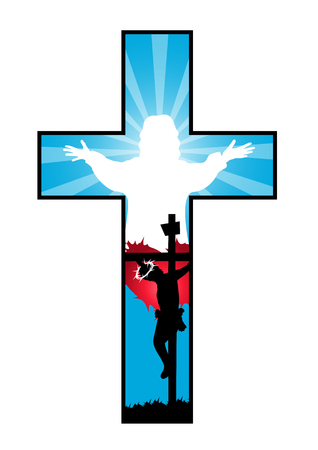 redemption: Religion Cross with crucifixion and resurrection of Jesus Illustration