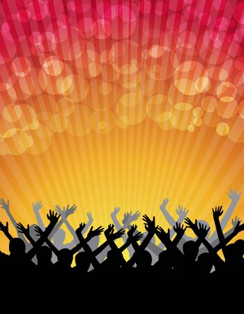 Vector silhouettes of people celebration on abstract lights background