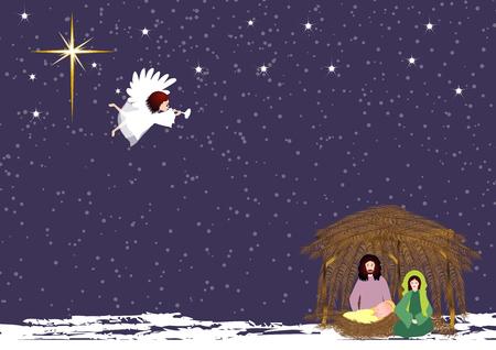 nascita di gesu: Giuseppe e Maria con il bambino Ges� al stabili con il canto angelo Vettoriali