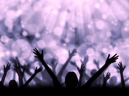 Silhouette of people raising hands on a abstract light background