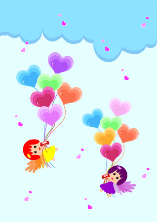 Two little fairy with heart balloon in the sky