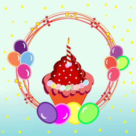 Birthday card with cupcake and balloons on stars background Illustration