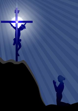 mujer arrodillada: Silueta de una mujer arrodillada y rezando bajo la cruz