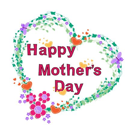 Happy mothers day card with flower and butterfly Illustration